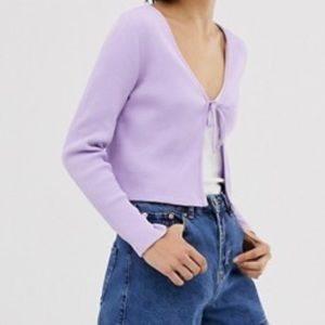 Lilac tie front cardigan